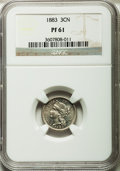 Proof Three Cent Nickels: , 1883 3CN PR61 NGC. NGC Census: (9/1317). PCGS Population (9/1595).Mintage: 6,609. Numismedia Wsl. Price for problem free N...