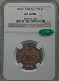 Two Cent Pieces, 1864 2C Large Motto MS64 Brown NGC. CAC. NGC Census: (446/278).PCGS Population (279/53). Mintage: 19,847,500. Numismed...