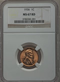 Lincoln Cents: , 1936 1C MS67 Red NGC. NGC Census: (636/1). PCGS Population (213/0).Mintage: 309,637,568. Numismedia Wsl. Price for problem...