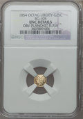 California Fractional Gold: , 1854 25C Liberty Octagonal 25 Cents, BG-105, R.3, -- Obv PlanchetFlaw -- NGC Details. UNC. NGC Census: (0/49). PCGS Popula...