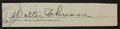 Baseball Collectibles:Others, Walter Johnson Signed Cut Signature....