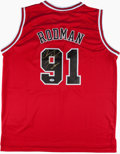 "Basketball Collectibles:Uniforms, Dennis Rodman ""Worm"" Signed Chicago Bulls Jersey...."