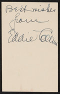Baseball Collectibles:Others, 1950 Eddie Collins Signed Government Postcard....