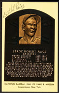 Baseball Collectibles:Others, Satchel Paige Signed Hall of Fame Plaque Postcard....