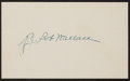 Baseball Collectibles:Others, Bobby Wallace Signed Index Card. ...