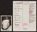 Baseball Cards:Autographs, 1976 Los Angeles Dodgers Lineup Card and Signed Walt Alston TCMA Card....