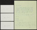 Baseball Collectibles:Others, Earle Combs Signed Index Cards Lot of 3, With Original Letter....