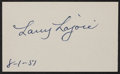 Baseball Collectibles:Others, 1951 Larry Nap Lajoie Signed Index Card....