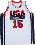 Basketball Collectibles:Uniforms, Magic Johnson Signed and Inscribed Dream Team I Jersey. ...