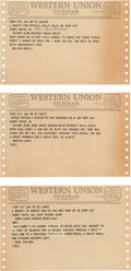 Movie/TV Memorabilia:Documents, A Sammy Davis, Jr. Group of Received Telegrams, 1963....