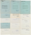 Movie/TV Memorabilia:Film, A Large and Good Group of Actor Signed Documents, 1940s-1950s....
