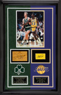 Basketball Collectibles:Others, Larry Bird and Magic Johnson Signed Game Used Floor Display....
