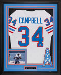 Football Collectibles:Uniforms, Earl Campbell Signed Jersey Display....
