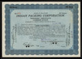 Football Collectibles:Others, 1919 Indian Packing Original Stock Certificate - Green BayPackers....