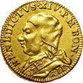 Italy:Papal States, Italy: Papal States. Benedetto (Benedict) XIV gold Zecchino Year 2(1741),...