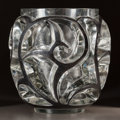 Art Glass:Lalique, R. LALIQUE CLEAR GLASS TOURBILLONS VASE WITH BLACK ENAMELDETAIL. Circa 1926, Wheel carved: R. LALIQUE. 8 inches...