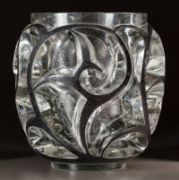 R. LALIQUE CLEAR GLASS TOURBILLONS VASE WITH BLACK ENAMEL DETAIL Circa 1926, Whee