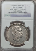 Coins of Hawaii: , 1883 $1 Hawaii Dollar -- Improperly Cleaned -- NGC Details. XF. NGCCensus: (53/259). PCGS Population (146/409). Mintage: 5...