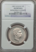 Coins of Hawaii: , 1883 50C Hawaii Half Dollar -- Improperly Cleaned -- NGC Details.AU. NGC Census: (28/286). PCGS Population (56/369). Minta...