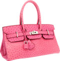 Luxury Accessories:Bags, Hermes 42cm Fuchsia Ostrich JPG Shoulder Birkin Bag with PalladiumHardware. ...