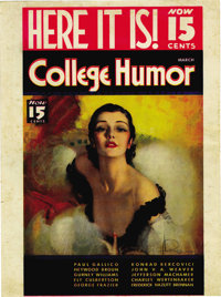 College Humor Magazine Newsstand Advertisement (circa 1930s). A lovely Rolf Armstrong painting of a white-shouldered, re...