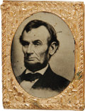 "Political:Ferrotypes / Photo Badges (pre-1896), Abraham Lincoln Gem Tintype. An excellent .75"" x 1"" hard image withbrass frame. Two minor scratches in field not affecting ..."