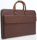 Luxury Accessories:Accessories, Gucci Brown Leather Briefcase with Bamboo Handles . ...