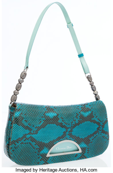 Christian Dior Turquoise Snakeskin Shoulder Bag. ... Luxury  9646b9535c617