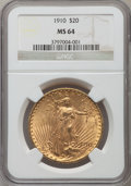 Saint-Gaudens Double Eagles: , 1910 $20 MS64 NGC. NGC Census: (849/74). PCGS Population(1149/166). Mintage: 482,000. Numismedia Wsl. Price for problemfr...