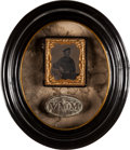 Militaria:Uniforms, Volunteer Maine Militia Relic Belt Plate Framed With 1/6th Plate Tintype Portrait of Union Navy Sailor....
