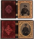 Photography:Tintypes, Pair of Cased Civil War Naval Officer 1/6th Plate TintypePortraits.... (Total: 2 Items)