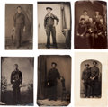 Photography:Tintypes, Lot of Six 1/6th Plate Tintype Portraits of Civil War Era UnionNavy Sailors.... (Total: 6 Items)