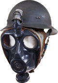 Militaria:Helmets, French WWII Navy Model 1939 Helmet and Gas Mask....