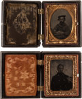 Photography:Tintypes, Pair of Cased 1/9th Plate Tintype Portraits of Union Naval Personnel.... (Total: 2 Items)