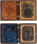 Photography:Tintypes, Two Cased 1/6th Plate Tintype Portraits of Unidentified UnionSailors.... (Total: 2 Items)