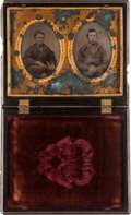 Photography:Tintypes, Two 6th Plate Tintype Portraits of Union Sailors in a Half-PlateUnion Case....