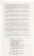 Music Memorabilia:Autographs and Signed Items, Michael Jackson and Jackson Family Signed Contract (1978)....