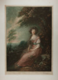 """Miscellaneous:Ephemera, Print of a Painting. 20"""" x 27"""". A young woman is seen on a hillsideunder trees. Published in 1920 by J. C. Klackner. Lightl..."""
