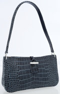 Luxury Accessories:Bags, Longchamp Slate Blue Crocodile Pressed Leather Shoulder Bag. ...