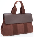 Luxury Accessories:Bags, Hermes Chocolate Evercalf and Canvas Valparaiso PM Tote Bag. ...