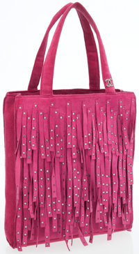 Chanel Pink Suede Fringe Mini Tote Bag with Crystals