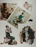 """Miscellaneous:Ephemera, [Norman Rockwell]. Group of Five Reproductions. Measuring 11.5"""" x 15"""", each leaf, which features art by Norman Rockwell, is ..."""