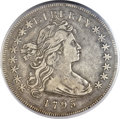 Early Dollars, 1795 $1 Draped Bust, Off Center VF35 PCGS. CAC. B-14, BB-51, R.2....