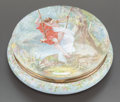 Ceramics & Porcelain, A FRENCH ENAMEL AND GILT BRONZE TABLE BOX. Circa 1900. Signed: L. Coblentz, 76, d ap. Cirt. 3-1/2 inches high x 9 inches...