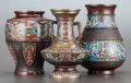 Asian:Japanese, THREE CHINESE CLOISONNÉ ENAMEL VASES . Maker unknown, circa 1900.13 inches high (33.0 cm) (tallest). Estate of Gerry Lane... (Total:3 Items)