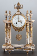 Decorative Arts, Continental:Other , A LOUIS XVI-STYLE MARBLE AND GILT METAL MOUNTED MANTLE CLOCK . 20thcentury. Marks: J. FAUVET, BILLY MONTIGNY. 16-1/2 x ...