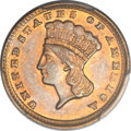 Gold Dollars, 1858-D G$1 MS61 PCGS. Variety 10-M....
