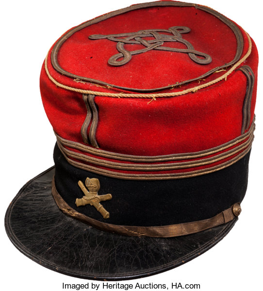 French Captain's Kepi With WWI Tank Insignia     Militaria
