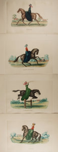 """Miscellaneous:Ephemera, [Horseback Riding]. Group of Four Engravings. Measuresapproximately 19.5"""" x 14"""". Each hand-colored engraving depicts awoma..."""
