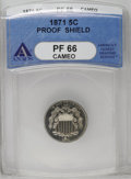1871 5C PR66 Cameo ANACS. This penetratingly struck Premium Gem offers light chestnut-gold toning. Carbon is minimal, an...